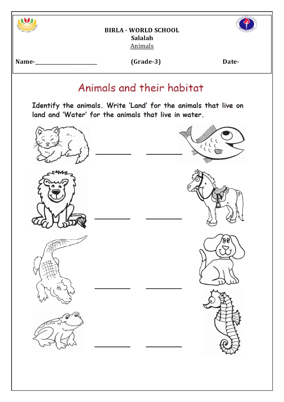 Birla World School Oman Homework For Grade 3 B On 18 08 16