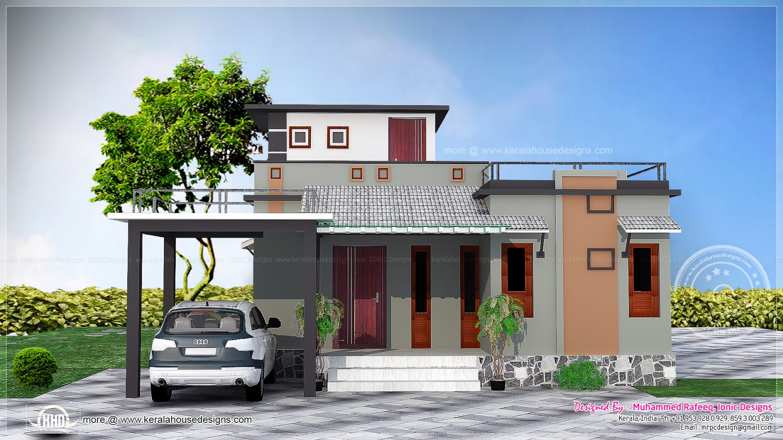 1016 sq feet small budget house kerala home design and for Free small house plans indian style
