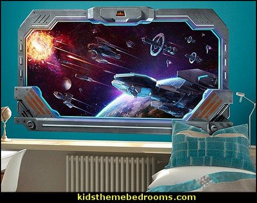 Galactic Battle Large Window Wall Decal