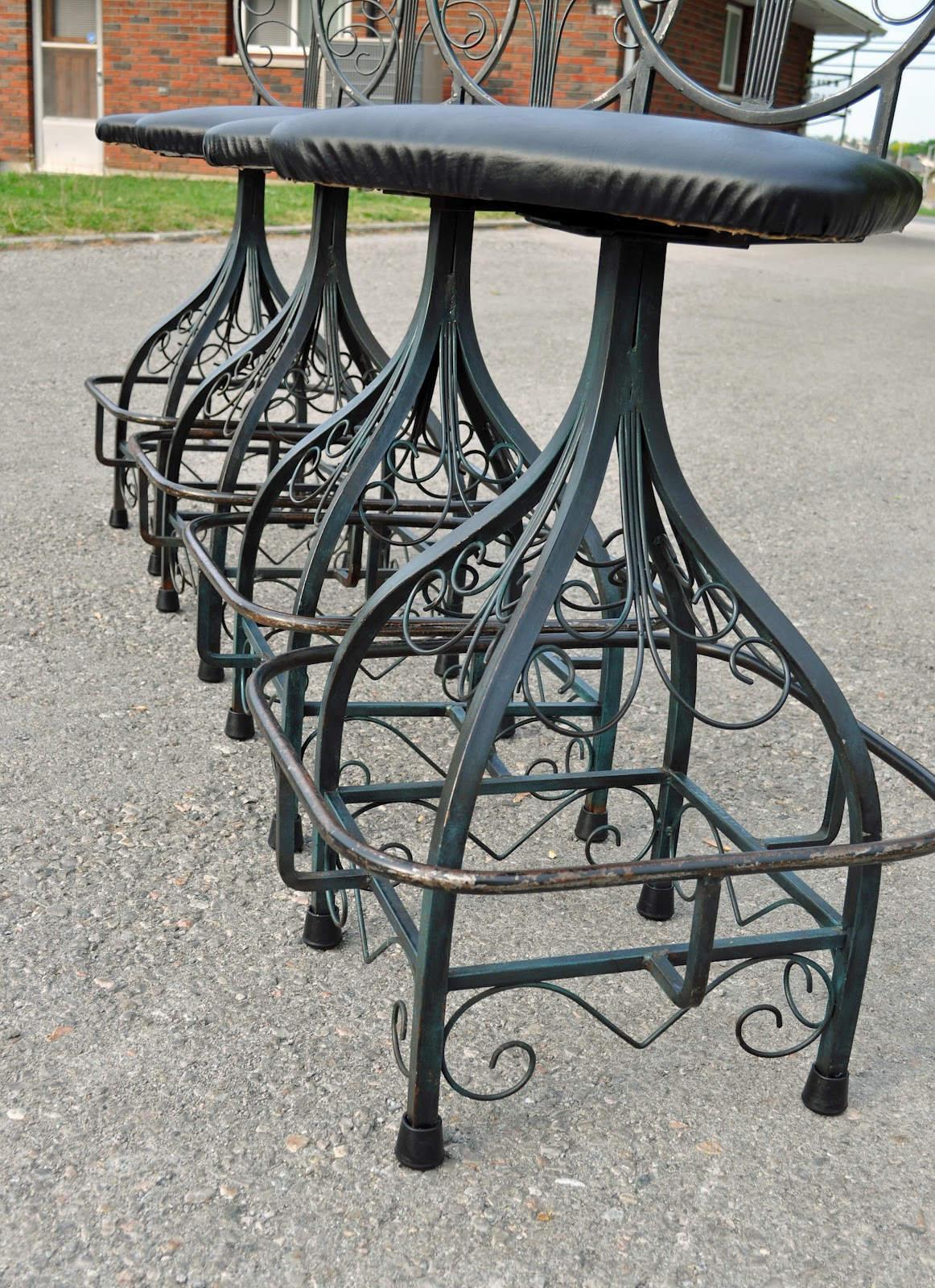 Antiques On Kent: SOLD - Mid Century Wrought Iron Bar Stools