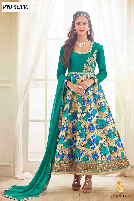 Jeevika Krystle D'Souza green bhagalpuri frock style anarkali salwar dress online shopping at lowest price