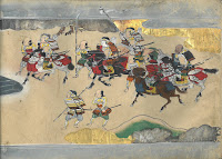 A painting of Japanese samura on foot and horseback from within the Nara Ehon