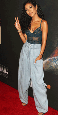 Jhene THOTFirst1 - Singer Jhene Aiko attends Chris Brown's event with her boobs on display (photos)