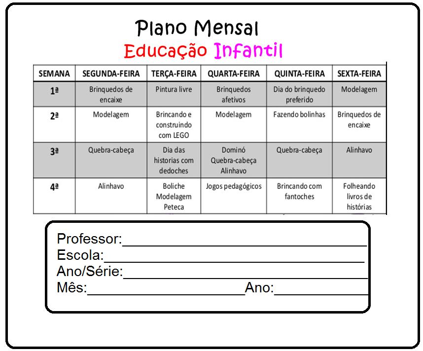 Muitas vezes Modelo de Plano mensal para Educação Infantil — SÓ ESCOLA MM33