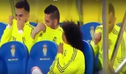 Hilarious video of Real Madrid players accusing each other of farting while sitting on the bench