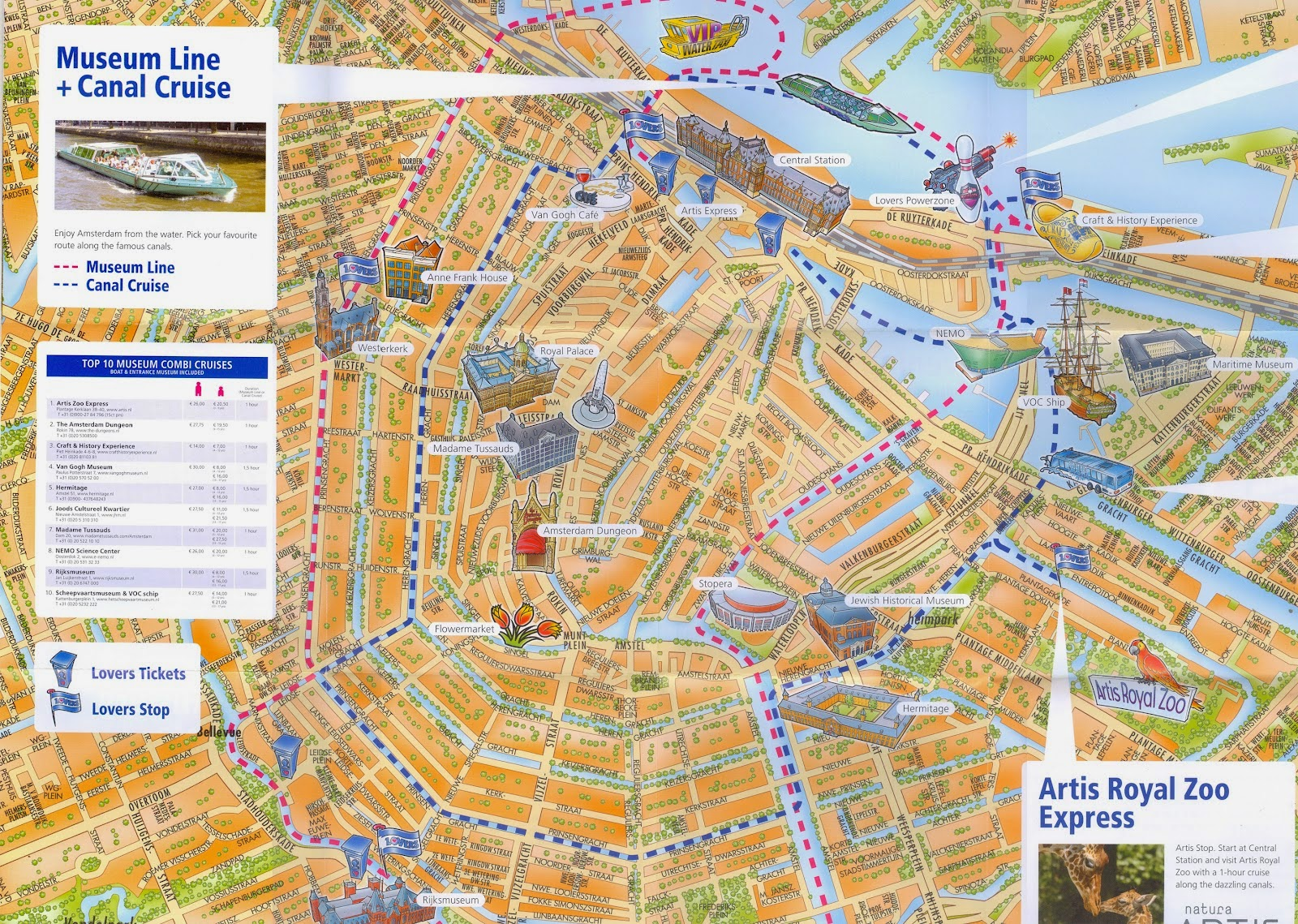 Mapa con recorridos en barco por Amsterdam. Paseo en barco por sus canales
