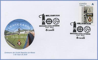 Sobre con matasellos y sello personalizado del Caudal Deportivo de Mieres