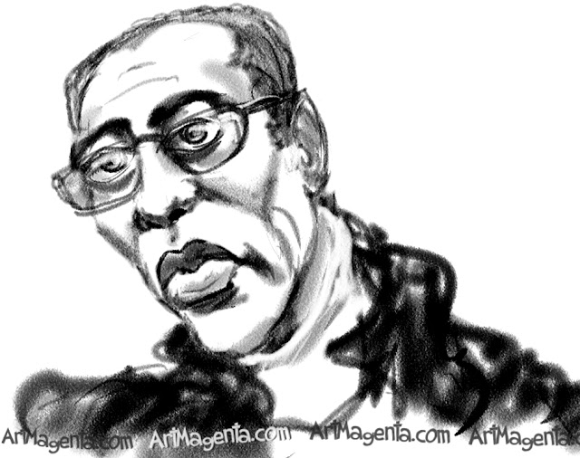 Wesley Snipes caricature cartoon. Portrait drawing by caricaturist Artmagenta.