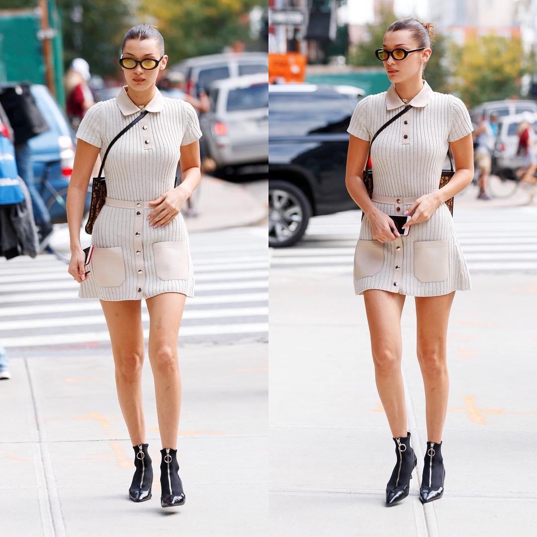 Bella Hadid Looks Hot in Skirt