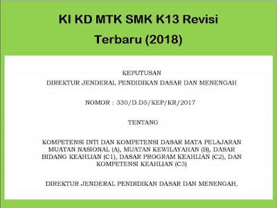 KI KD Matematika MTK SMK Kurikulum 2013 Revisi (2018)