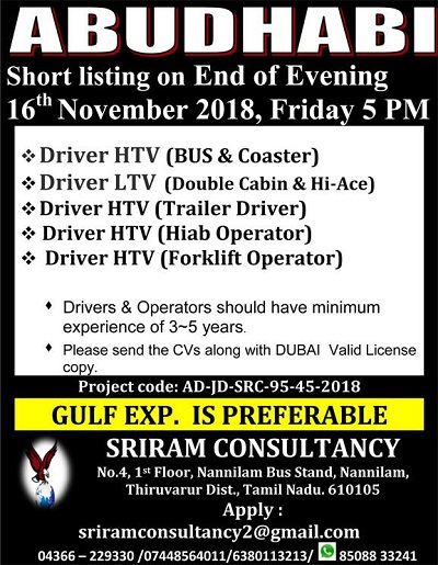 UAE JOBS : URGENTLY REQUIRED FOR LEADING CO  IN ABU DHABI