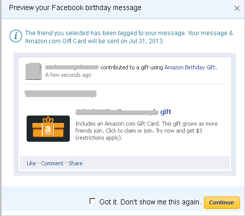 Preview Birthday Message Window
