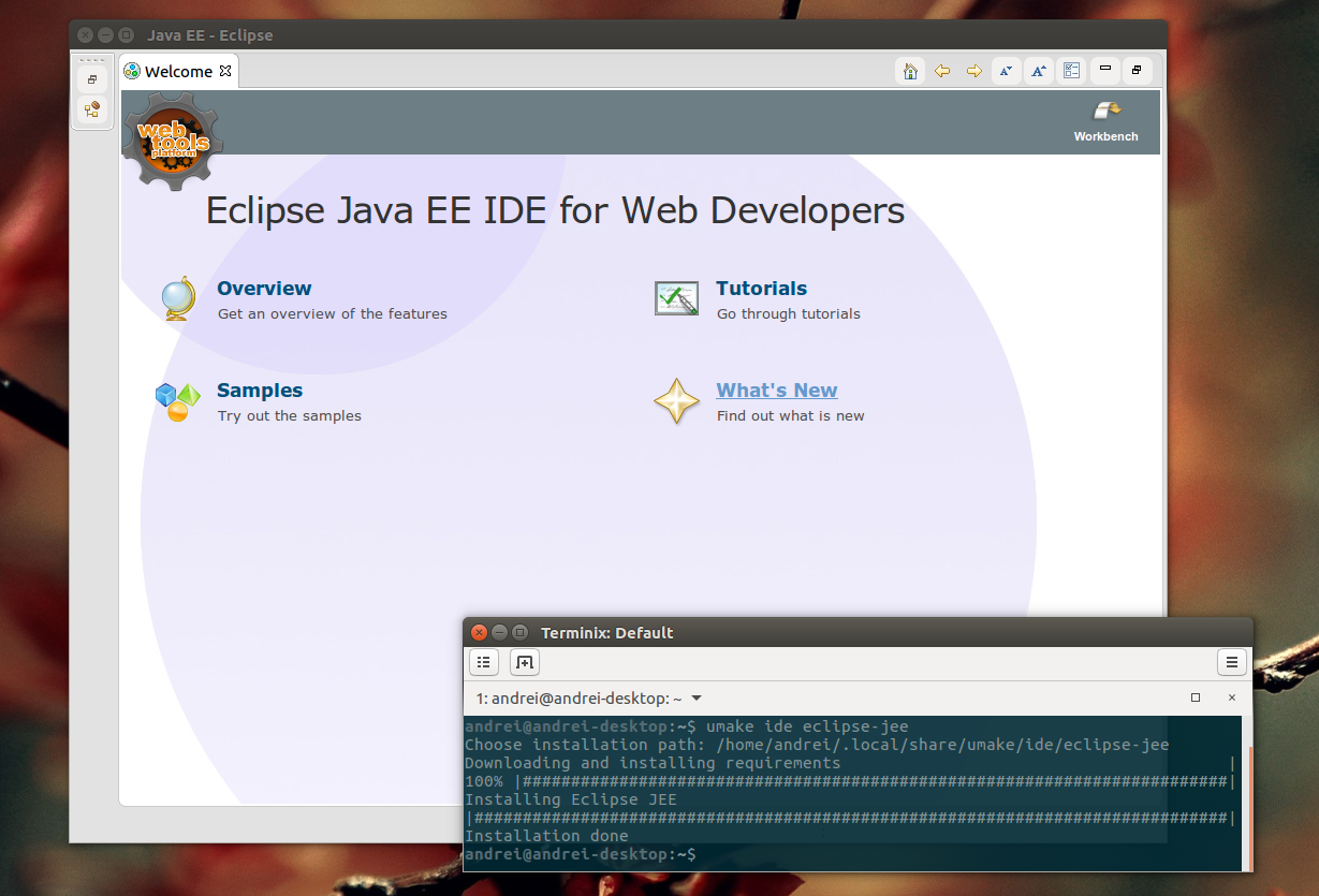 Ubuntu Make Eclipse Java EE IDE