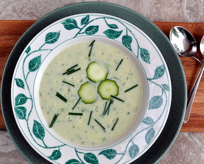 Cream of Zucchini Soup ♥ AVeggieVenture.com using Julia Child's master no-cream base for creamy vegetable soups, tastes rich for only 100 calories per cup.