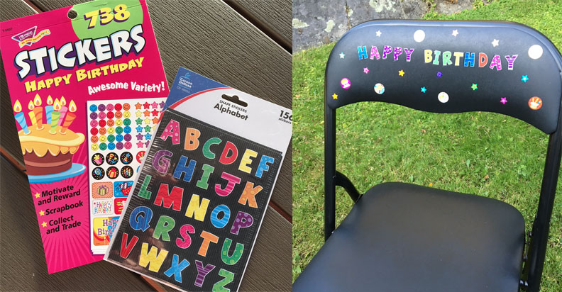 Making a birthday chair for a first grade classroom.