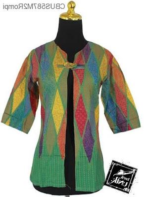 Baju Blazer Batik Kerja Wanita Muslimah Modis