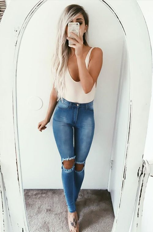 Emily Rose Hannon White Deep Plunge Body + High Waist Jeans