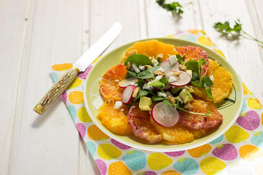 ensalada de naranjas con vinagreta de comino