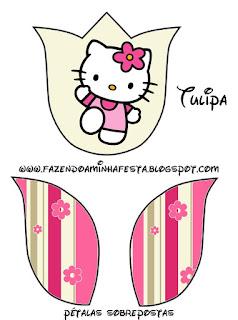 Hello Kitty with Flowers,  Tulip invitation