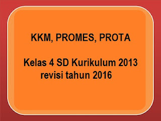 KKM, PROMES, PROTA KELAS 1 SD Kurikulum 2013 revisi terbaru