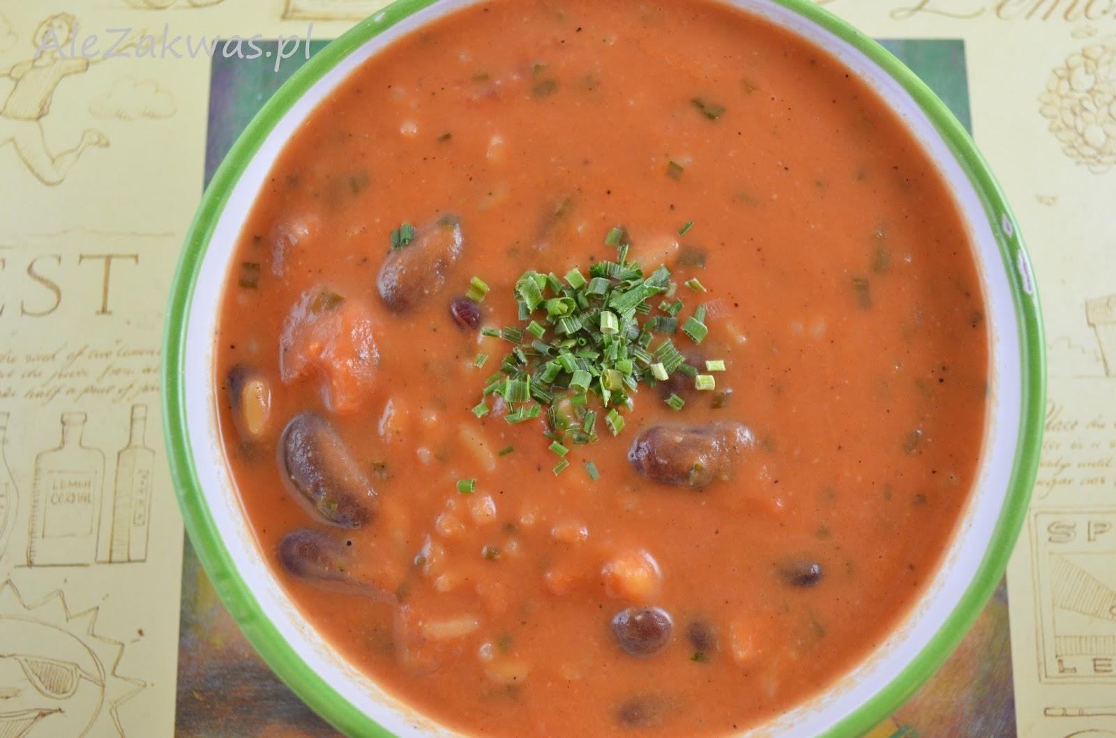 Ale Zakwas Ekspresowa Zupa Pomidorowa Z Ryżem Fasolą I Szczypiorkiem
