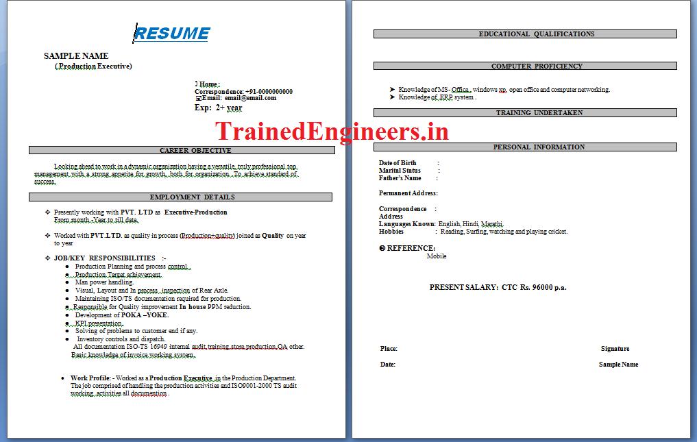 plant engineer resume sample