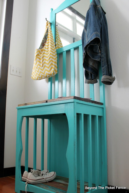 add a pop of color to an entryway with a fun boho style hall tree