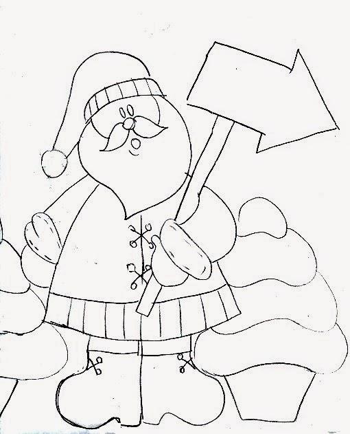 desenho de papai noel com plaquinha para pintura em tecido