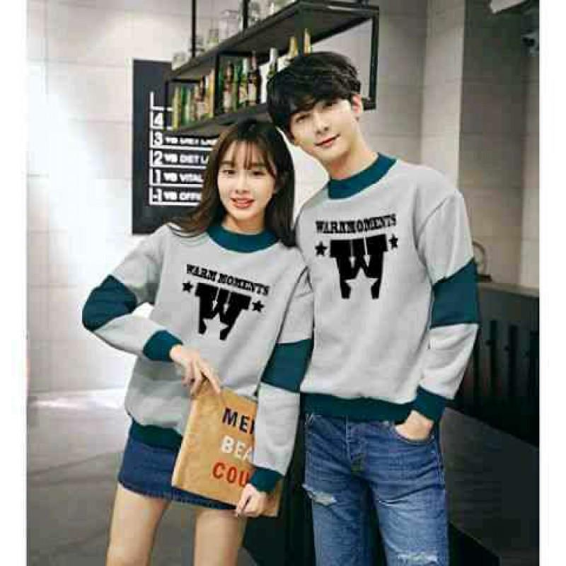 Jual Online Sweater Warm Misty Tosca Couple Murah Jakarta Bahan Babytery Terbaru