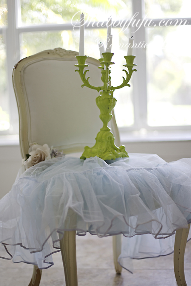 candelabra on a chair