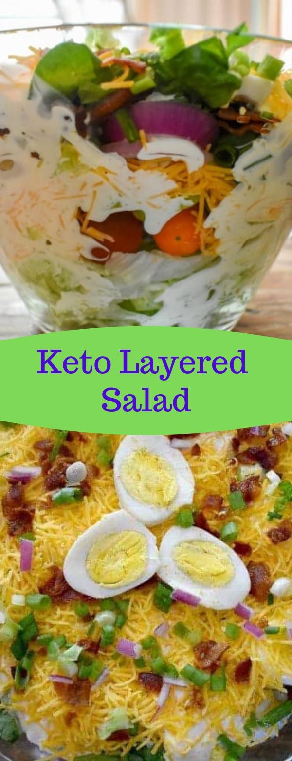 Keto Layered Salad #KETO #SALADRECIPES