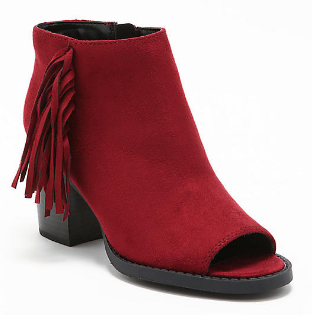 love culture burgundy suedette fringe booties