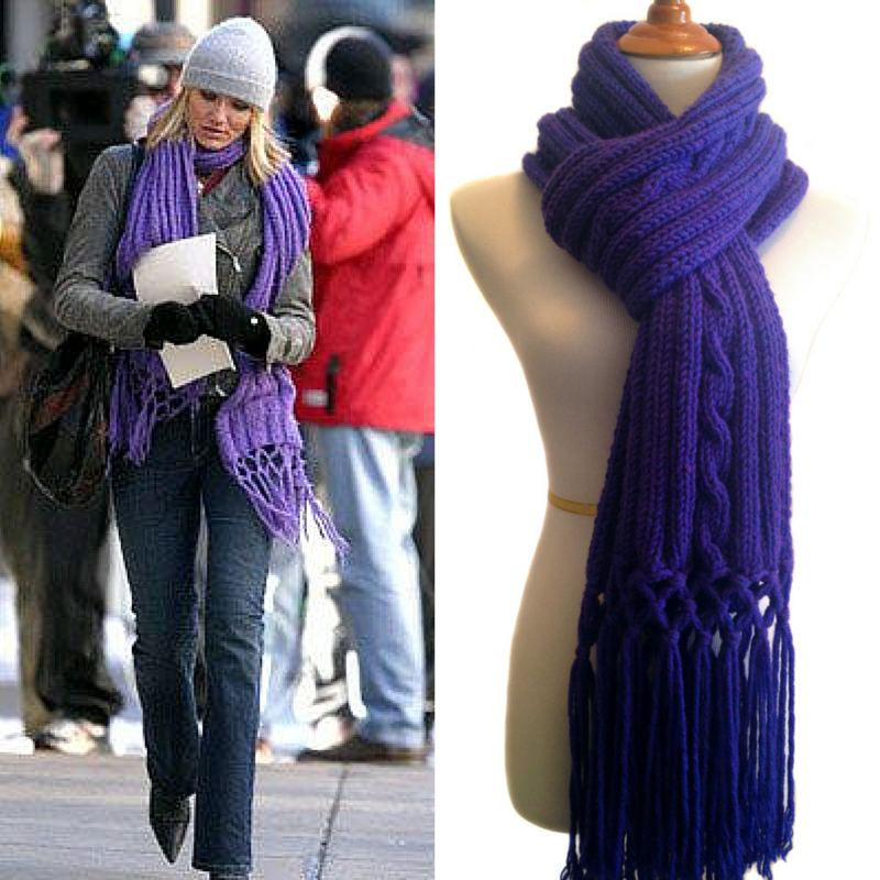 In Her Shoes, Cameron Diaz, Movie, Purple, Scarf, Knit, Pattern, Sharondipity, Designs