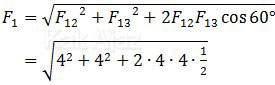 Resultan gaya Coulomb pada muatan Q1