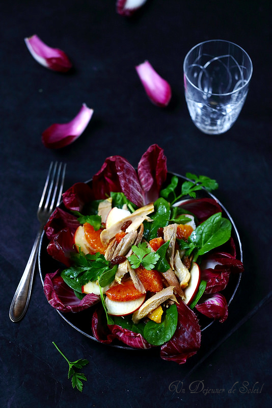 Salade de poulet rôti (endive, épinards, pomme, orange...)