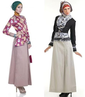 Model Gamis Batik Kombinasi Blazer modis