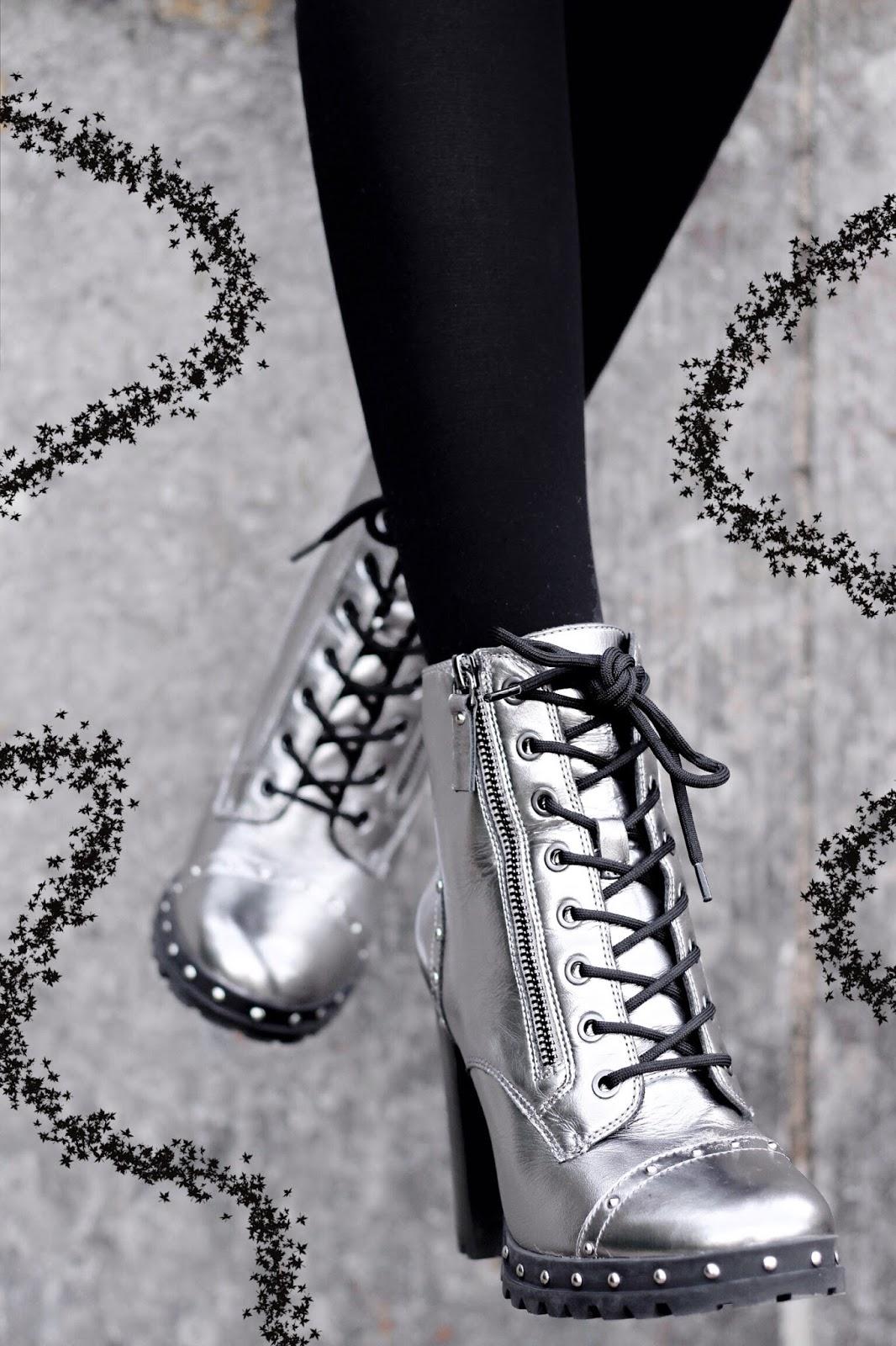 Aldo Isidro Silver Metallic Heeled Ankle Boots