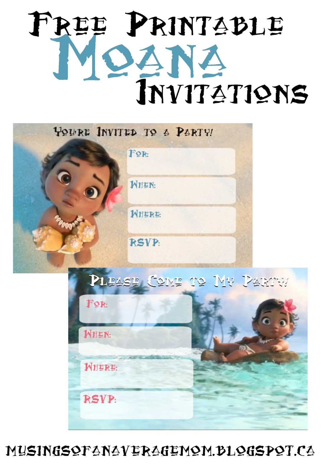 Musings Of An Average Mom Free Printable Moana Invitations 2