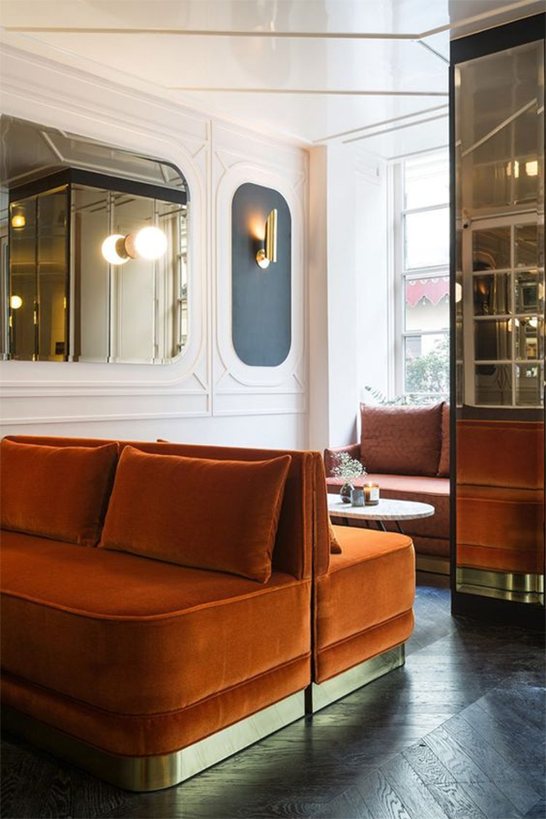 ... With Velvet Is By Using Really Bold And Bright Colors Like This Rust  Orange Velvet Sofa Below Or Something Like A Fun Shade Of Chartreuse Or  Deep Teal ...