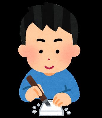 消しゴムはんこを作る人のイラスト(男性)