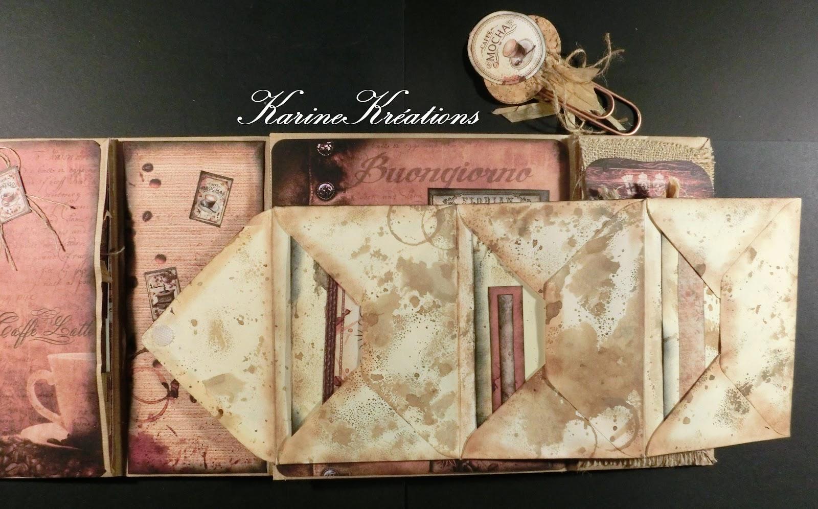 273c22bc19c4 J ai vieilli les enveloppes avec de la versafine sépia et fait des taches  avec du brou de noix (voir tuto Junk journal)