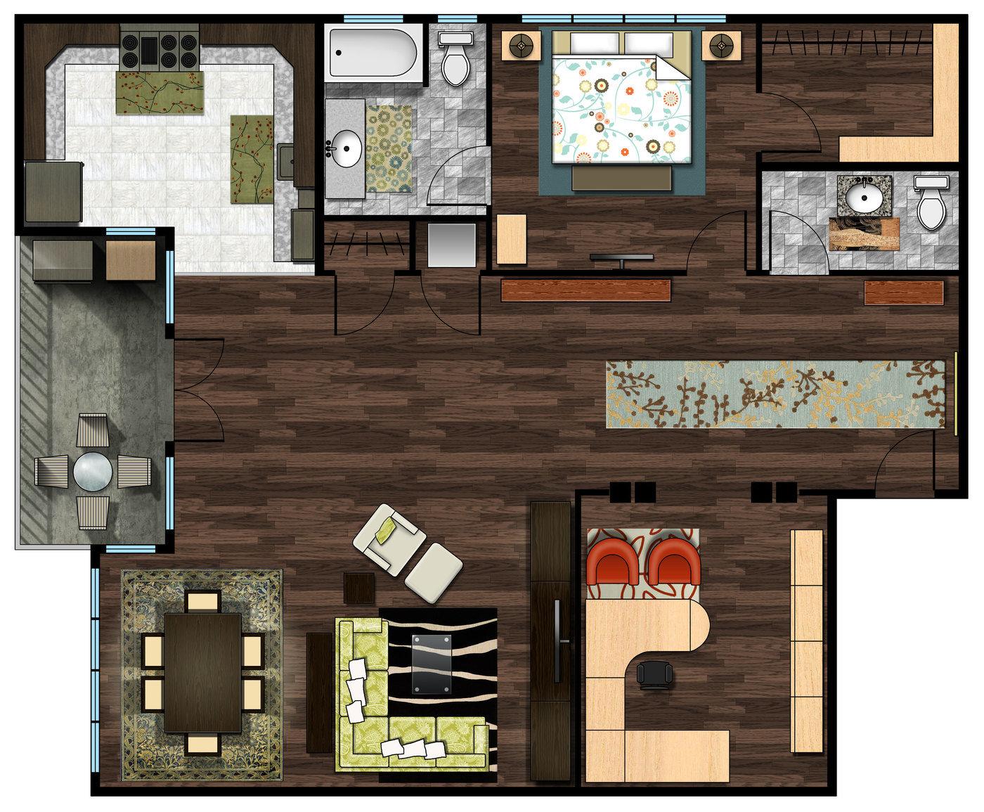Photoshop  2D Blocks Floor Plan