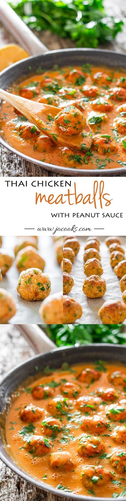 Skinny Thai Chicken Meatballs with Peanut Sauce
