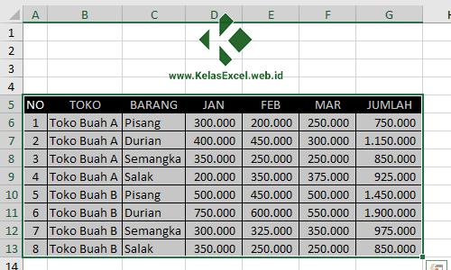 Langkah Menggunakan Advanced Filter Pada Excel 1