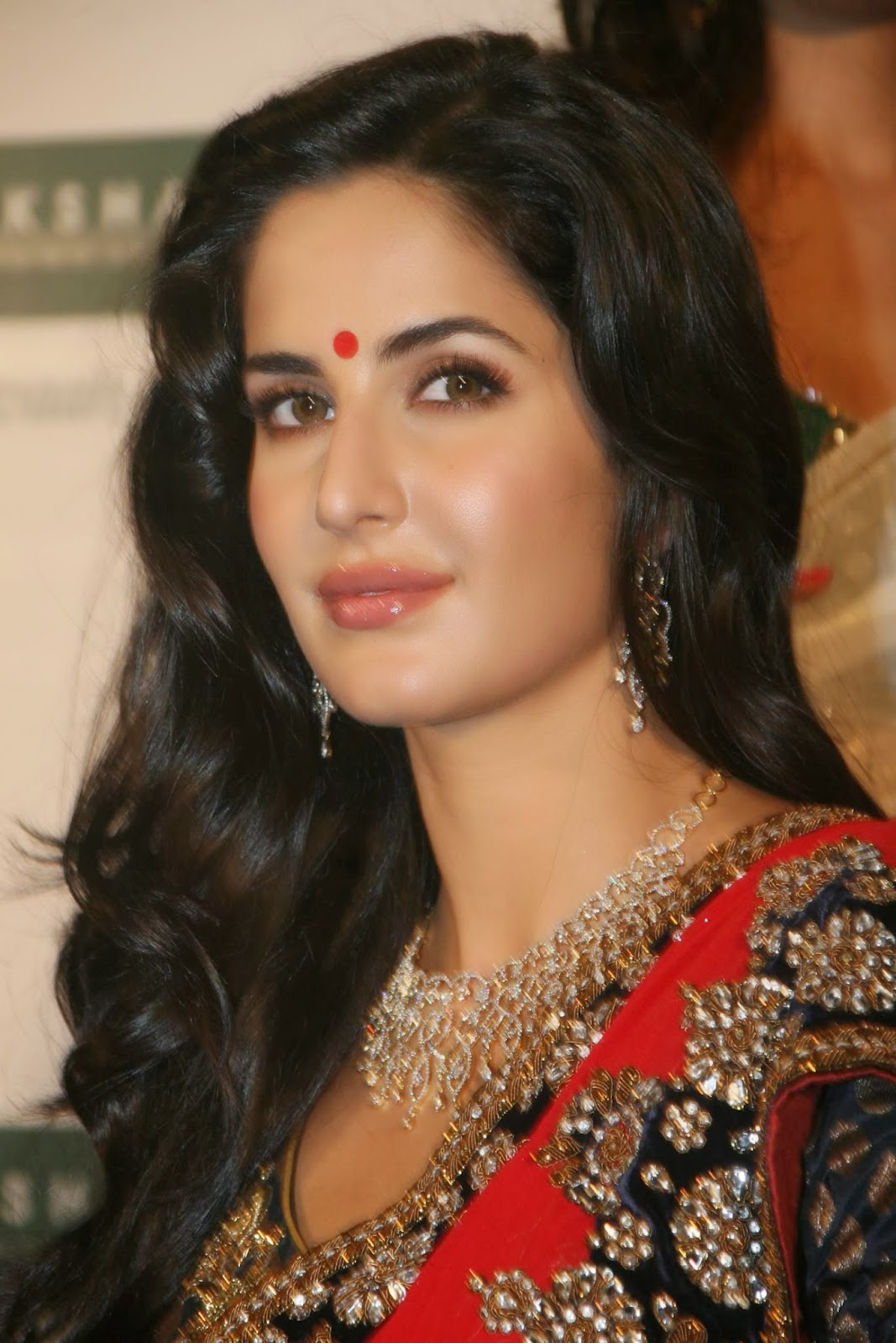 Hot Looking Face Photos Of Katrina Kaif In Red Saree
