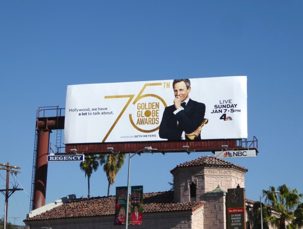 75th Golden Globe Awards Seth Meyers billboard