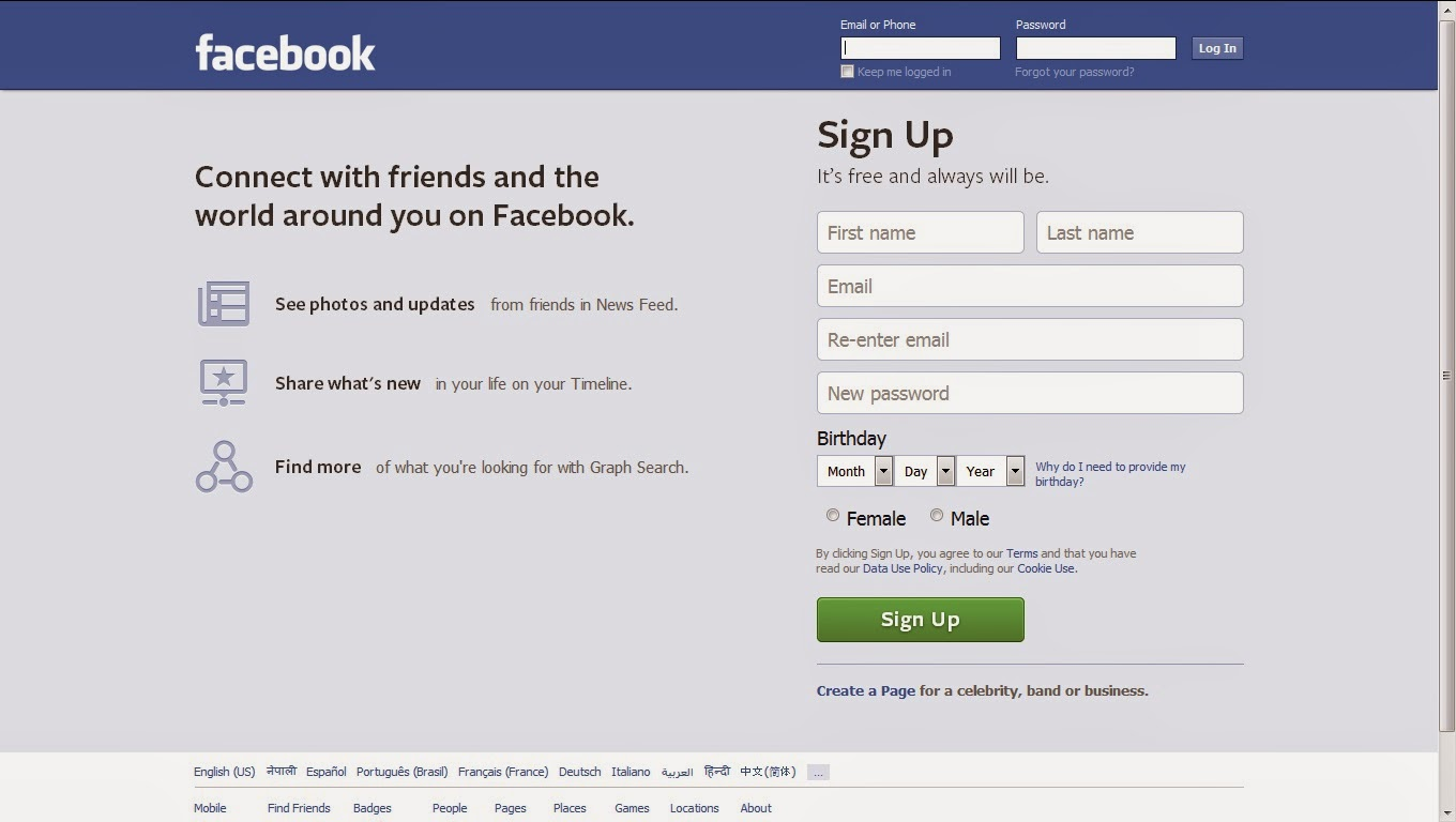 Example of a webpage (facebook.com)