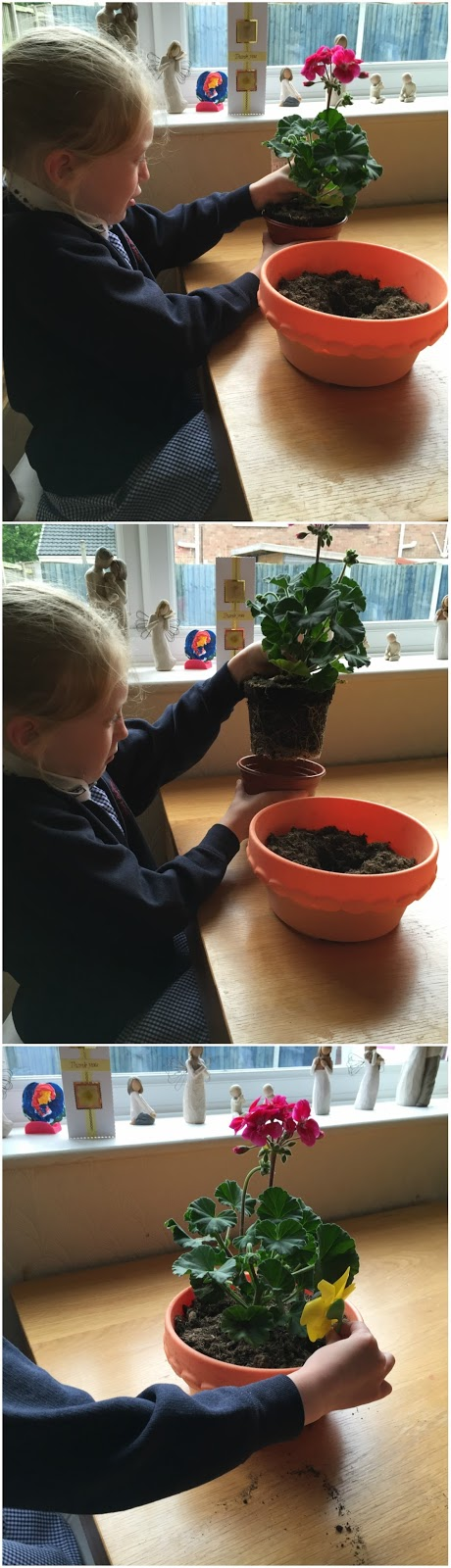 Kira planting her plant