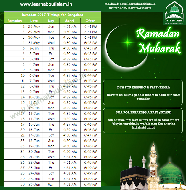Ramadan Timings 2017 for Bangalore, Karnataka - Sehri Timings and Iftar Timings