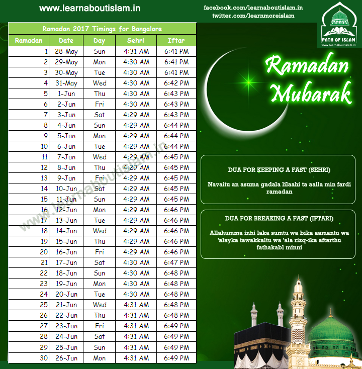 hyderabad sehri iftar ramadan timings 2018 updated